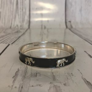 J. Crew gray enamel elephant bangle bracelet